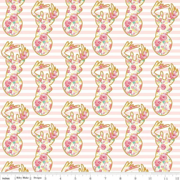 Just Sayin' - My Mind's Eye - Riley Blake - By The Yard - Elk/deer w/gold outline on pink & white stripes- SC6892 - RebsFabStash