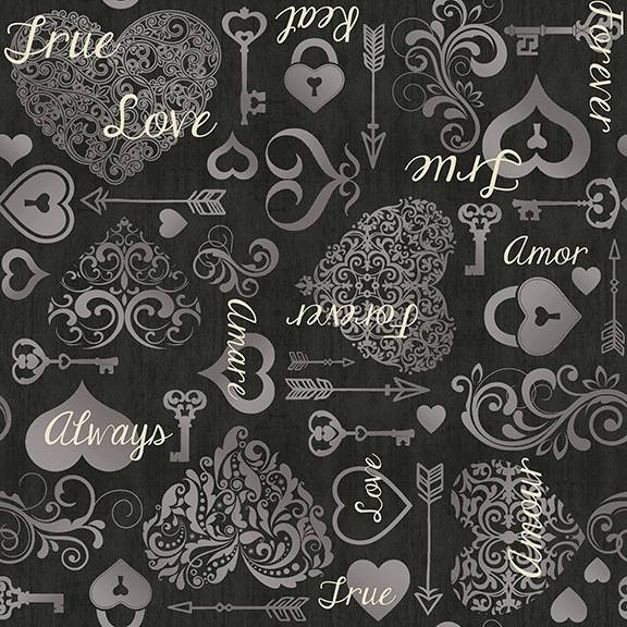 Kick Heart Disease-Black scroll on White-Per Yard -By Leslie Moak Murray for Quilting Treasures -Valentine's or heart fabric - Love, wedding - RebsFabStash