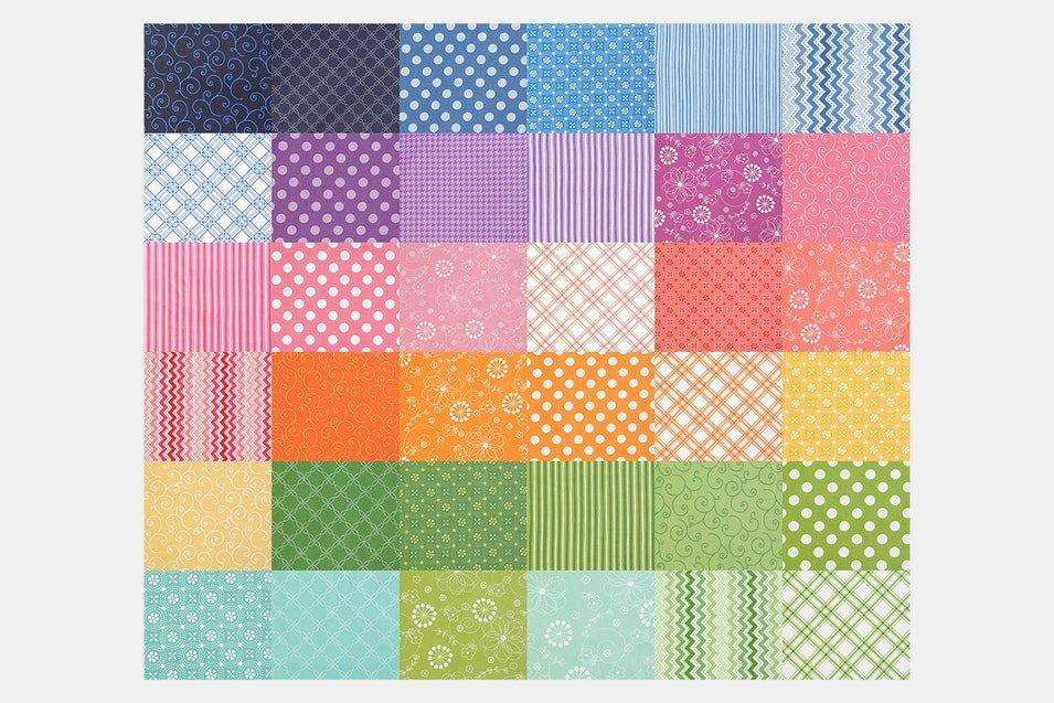 "Kimberbell Basics - charm pack - 5"" squares (42) - by Kim Christopherson - quilt fabric, tonal, blender, rainbow colors - C - RebsFabStash"