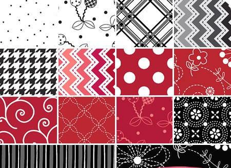 "Kimberbell Basics - charm packs (42) 5"" squares - Maywood Studio - Great mixers!! - Red, White and Black fabrics - RebsFabStash"