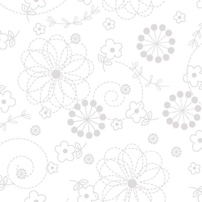 Kimberbell Whites - Per Yard- Kimberbell Basics - Maywood Studio - White Dots on White - MAS 8216 - WW - RebsFabStash
