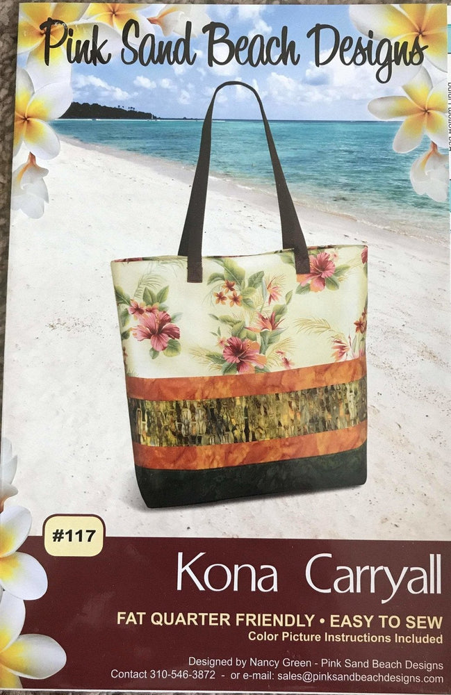 Kona Carryall - Pink Sand Beach Designs - Fat Quarter Friendly with lots of pockets! - Easy to Sew - RebsFabStash