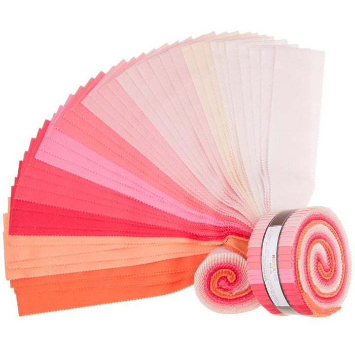 "KONA Cotton - Roll Up - Jelly Roll - (40) 2.5"" x 43""/44"" strips - Blushing Bouquet Palette - Pinks, reds, oranges - RebsFabStash"