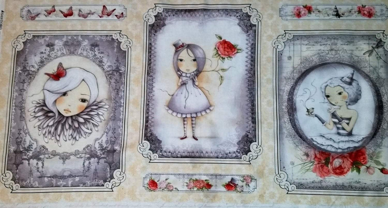 "La Vie en Rose - Panel - 24"" x 43"" - Quilting Treasures - Santoro - Simply Gorgeous! - RebsFabStash"