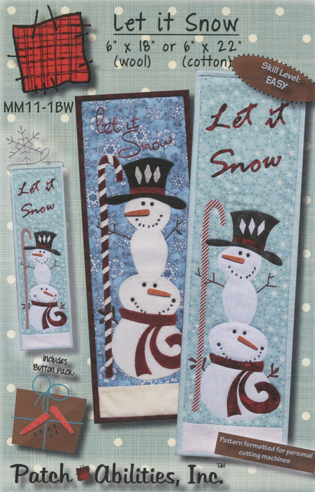 Let it Snow WOOL KIT with Pattern for quilted wall hanging or table runner by Patch Abilities, Inc. Easy Pattern - RebsFabStash