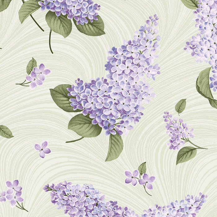 Lilacs in Bloom - per yard - Jackie Robinson - Benartex - Beautiful florals and tonals in this collection! Wave Texture Purple 02966 66 - RebsFabStash