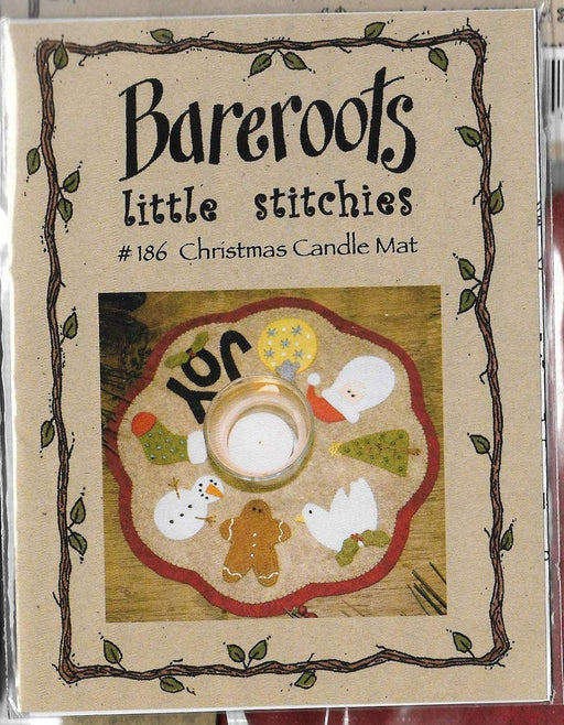Little Stitchies Wool Felt Complete Kit - Christmas Candle Mat - Bareroots by Barri Sue Gaudet - Pattern & materials included! - Primitive - RebsFabStash
