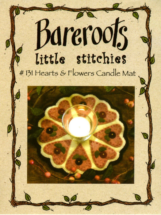 Little Stitchies Wool Felt Complete Kit- Hearts and Flowers # 131 Bareroots by Barri Sue Gaudet - Pattern & materials included- Primitive - RebsFabStash