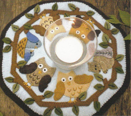 Little Stitchies Wool Felt Complete Kit- In the Woods Candle Mat- Bareroots by Barri Sue Gaudet - Pattern & materials included- Primitive - RebsFabStash