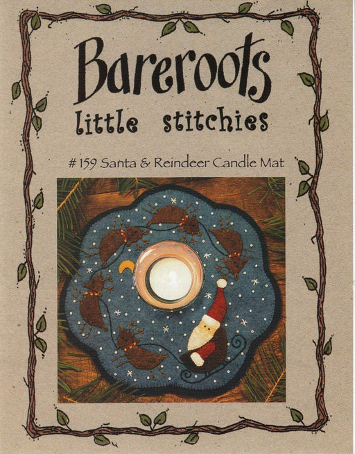 Little Stitchies Wool Felt Complete Kit -Santa & Reindeer Candle Mat - Bareroots by Barri Sue Gaudet -Pattern -fabric included! - Primitive - RebsFabStash
