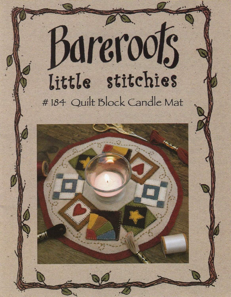 Little Stitchies Wool Felt PATTERN- QuiltBlock Candle Mat or table topper - Bareroots by Barri Sue Gaudet - Primitive - heart, stars - RebsFabStash