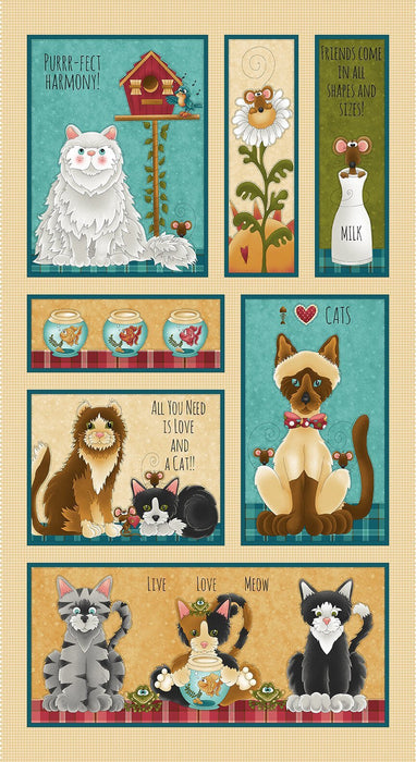 "Live Love Meow - PROMO Fat Quarter Bundle + 2 PANELS! - (12) 18""x 21"" pieces PLUS (2) 23""x 42"" panels - Henry Glass by Leanne Anderson and Kaytlyn Kuebler - Whole Country Caboodle - RebsFabStash"