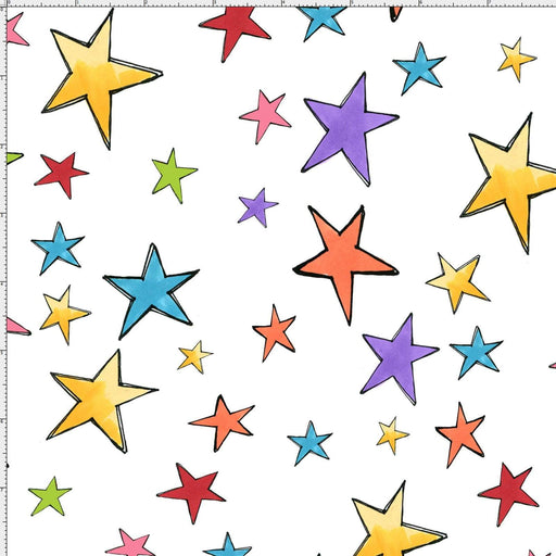 Loralie Galaxy Stars - Per Yard - Loralie Harris Designs - On White - RebsFabStash