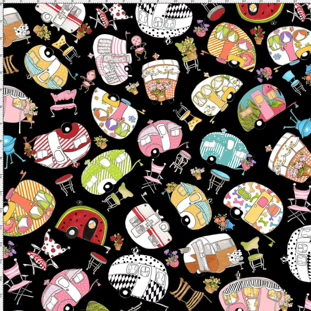 Loralie Vintage Holiday - per yard - Loralie Harris Designs - Campers on Black - RebsFabStash