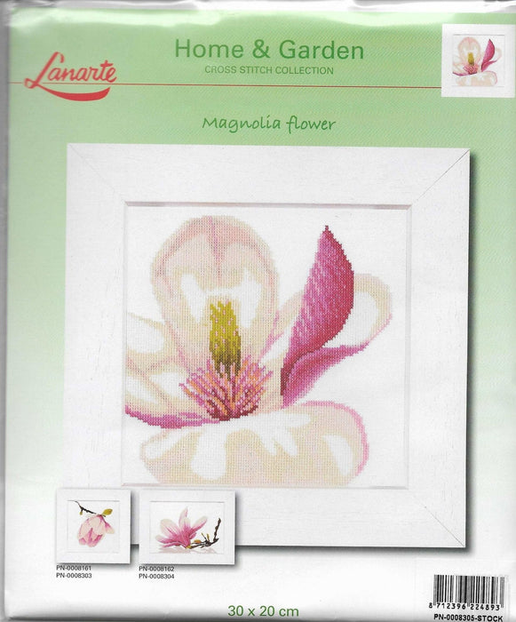 Magnolia Flower - Richard Griffin - Lanarte Home & Garden Collection - DMC Aida Fabric 18ct or 27ct Complete Counted Cross Stitch Kit - RebsFabStash
