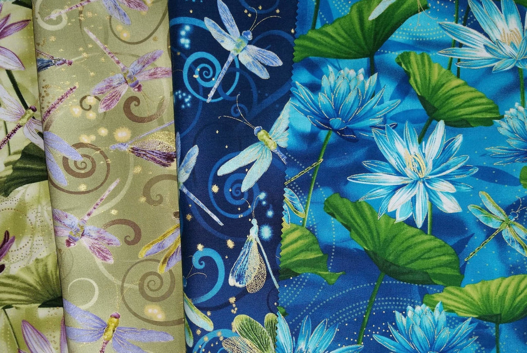 Maria Kalinowski - Dance of the Dragonfly - per yard - Benartex - Kanvas - Swirling sky jade - scroll and swirls on aqua - Just arrived!! - RebsFabStash