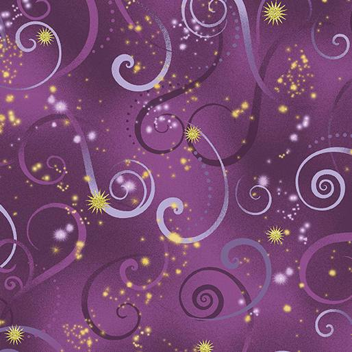 Maria Kalinowski - Dance of the Dragonfly - per yard - Benartex - Kanvas - Swirling sky violet - scroll and swirls on violet - RebsFabStash