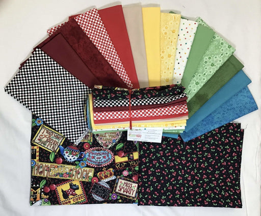 "Mary's Mottos - Mary Engelbreit for Quilting Treasures - PROMO Fat Quarter (14) Bundle - 18"" x 22"" pieces, + 1 or 2 yards of Mary's Mottos to Live By and Tossed Cherries on Black - RebsFabStash"