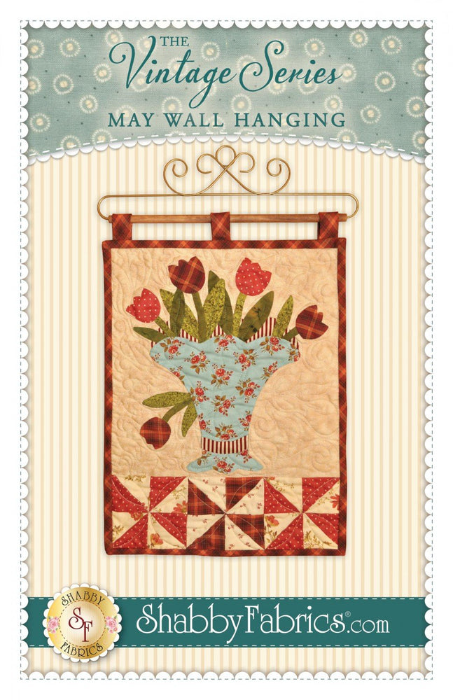 "May Wall Hanging- Pattern - by Shabby Fabrics - 12.5"" x 18"" - The Vintage Series - RebsFabStash"
