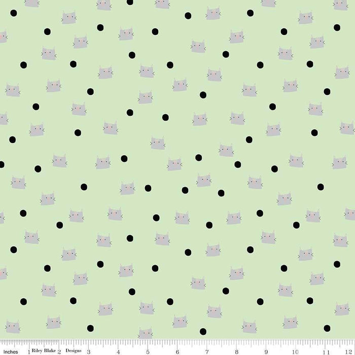 Meow and Forever Kitty Cat Paws Tiny Pink Prints Black Cotton Fabric Fat Quarter