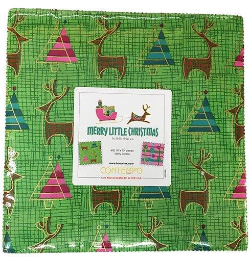 "Merry Little Christmas - Layer Cake (42) 10"" squares - Quilt fabric - Contempo (Benartex) Reindeer, Snowflakes, trees - Holly Helgeson - RebsFabStash"