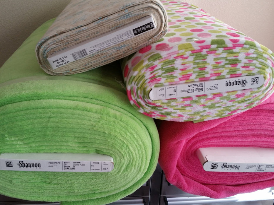 Mod Dots - per yard - Shannon Cuddle Classics - Dots - Lime and Pink - RebsFabStash
