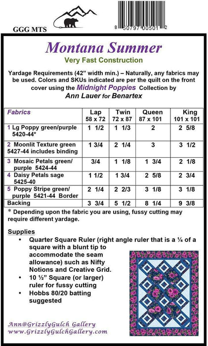 Montana Summer - Quilt Pattern - by Ann Lauer - Includes instructions for Lap, Twin, Queen and King Quilt! Uses Midnight Poppies! - RebsFabStash