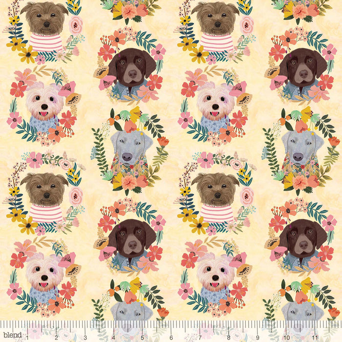 "More Floral Pets - More Floral Puppies Multi PANEL - 24"" x 43"" Panel - by Mia Charro - Blend Fabrics - 129.101.07.1 - RebsFabStash"