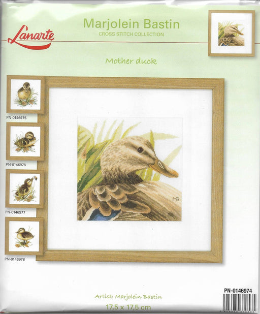 Mother Duck - Marjolein Bastin - Lanarte Home & Garden Collection - DMC Aida Fabric (18 ct) Complete Counted Cross Stitch Kit - RebsFabStash