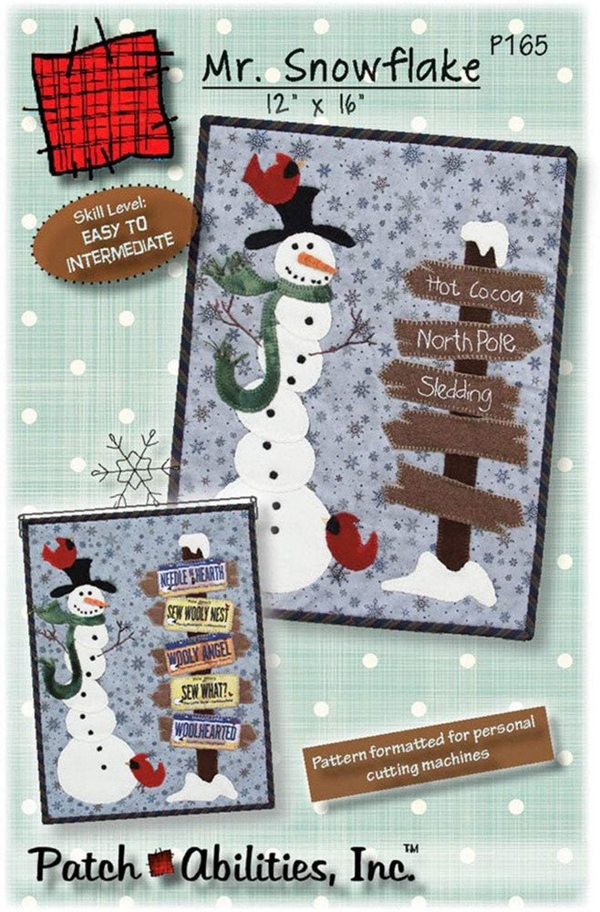 Mr. Snowflake PATTERN for cotton or wool! Quilted wall hanging or table runner by Patch Abilities, Inc. Snowman, Winter, Christmas - RebsFabStash