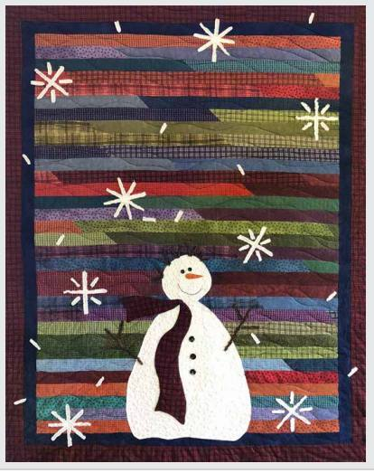 "Mr SnowJangles - Features Woolies by Bonnie Sullivan - Quilt designed by Front Porch Quilts - Complete Quilt Kit! Finished Size 62"" x 74"" - RebsFabStash"