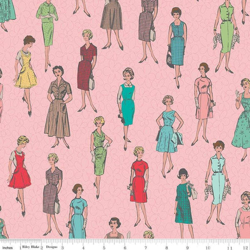 "My Happy Place -Decorator Fabric - per yard - Lori Holt for Riley Blake designs - 54"" wide HD9311-Pink - Vintage Ladies on Pink - RebsFabStash"