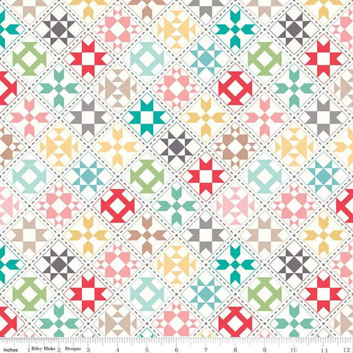 "My Happy Place -Decorator Fabric - per yard - Lori Holt for Riley Blake designs - 54"" wide HD9314-CREAM Quilt Blocks on White/Cream - RebsFabStash"