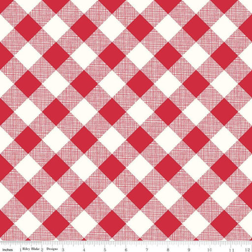 "My Happy Place -Decorator Fabric - per yard - Lori Holt for Riley Blake designs - 54"" wide HD9315-RED Red and White Bias Gingham Plaid - RebsFabStash"