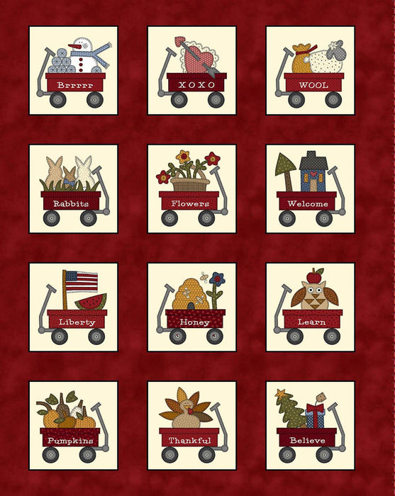 My Red Wagon - per yard - by Debbie Busby - Henry Glass - Novelty Toss Fall - 2543-99 Black - RebsFabStash
