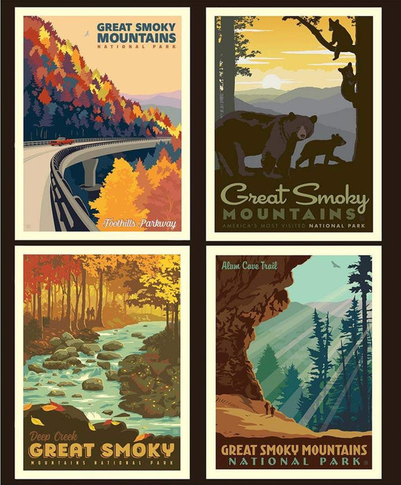 "National Parks Collection - PILLOW PANEL - per yard - Riley Blake Designs - Digital Print Panel 36"" SMOKY PP8797 - RebsFabStash"