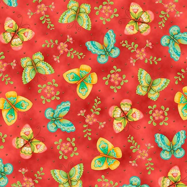 NEW All a Flutter -per yard-by Karla Dornacher for Quilting Treasures-Butterflies and flowers! Beautiful! - Border print aqua, yellow, red - RebsFabStash