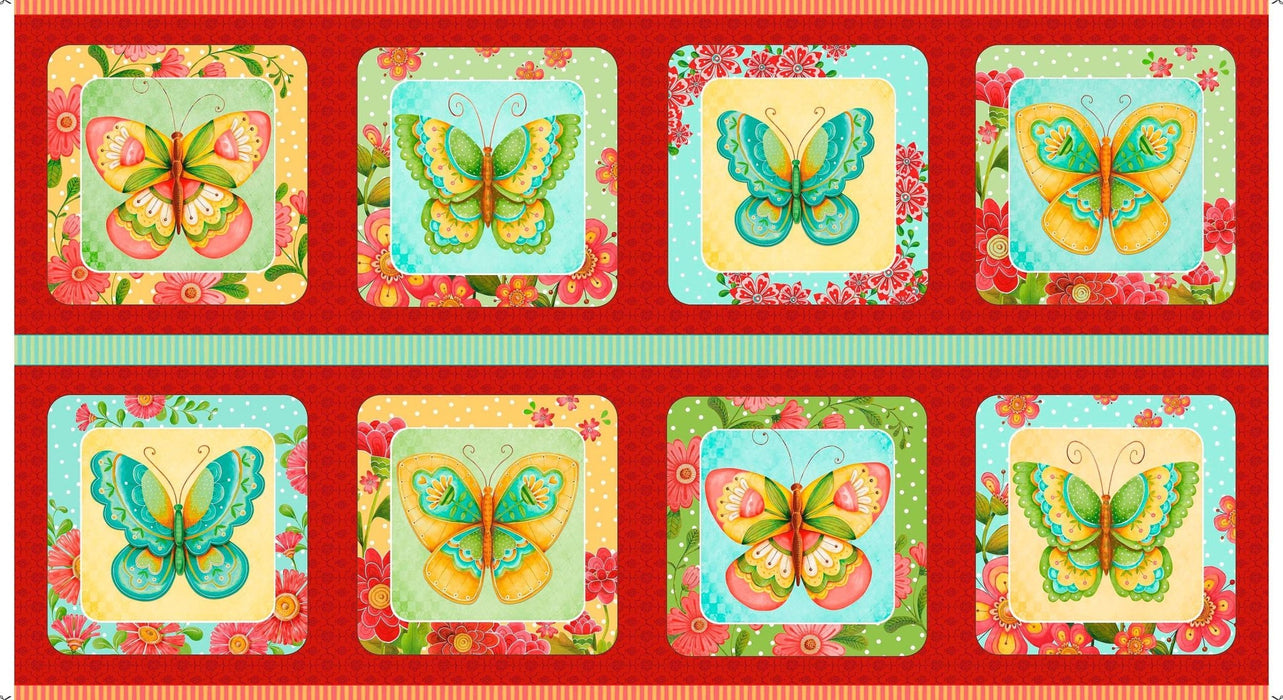 NEW All a Flutter -per yard-by Karla Dornacher for Quilting Treasures-Butterflies and flowers! Beautiful! - Border print pink, yellow, red - RebsFabStash
