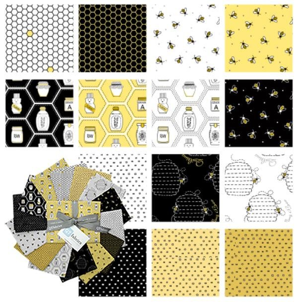 "NEW! All the Buzz - Fat Quarter Bundle - (14) 18"" x 21"" pieces - Ink & Arrow by Monika Zhu - Quilting Treasures - Beehives, bees, blenders! - RebsFabStash"