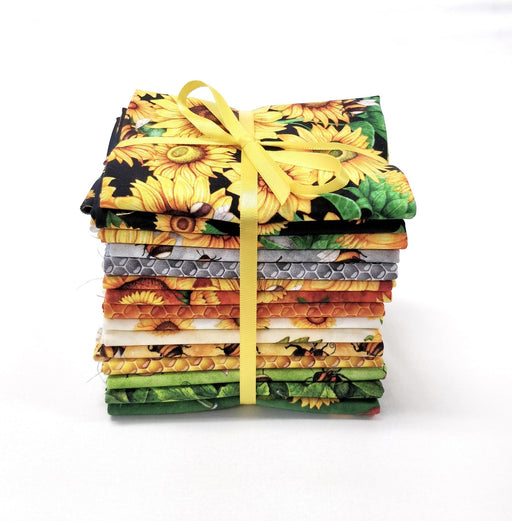 New! - Always Face the Sunshine - PROMO Fat Quarter Bundle w/ Option for panels - Dan Morris for QT Fabrics -Sunflowers, bees, honeycomb! - RebsFabStash