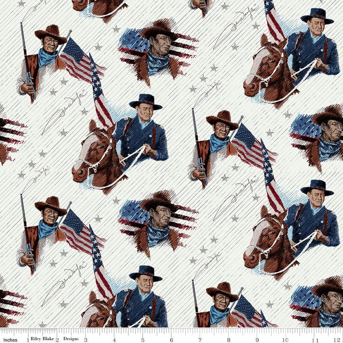 NEW! Americana John Wayne fabrics - per yard - Riley Blake Designs - by Riley Blake Designers - Main Word Print Red - C9473-RED - RebsFabStash