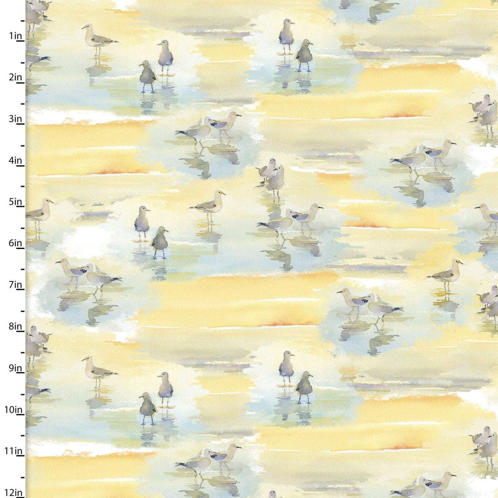 New! At the Shore - Sandpipers - Per Yard - by John Keeling - 3 Wishes - Digitally Printed fabrics! - Tan - 16053-TAN - RebsFabStash