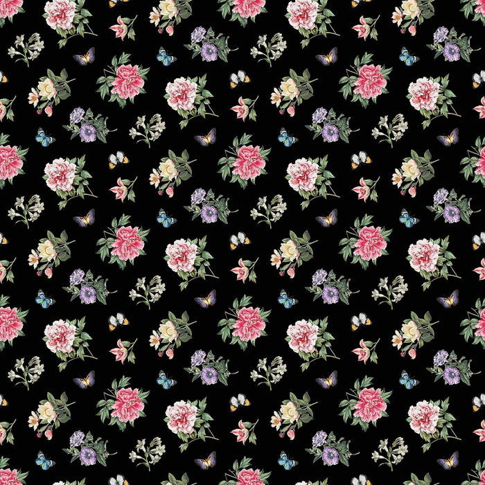 "New! Botanica - Placemats - Black Multi PANEL! - 28"" x 44"" panel - by Michel Design Works for Northcott - Four placemats per panel - DP23293-99 - RebsFabStash"
