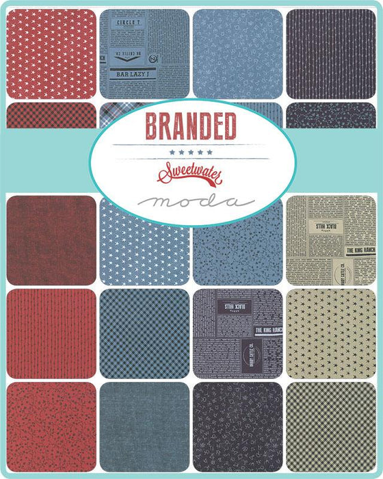 "New! Branded - Charm Pack - Stacker - (42) 5"" x 5"" squares - by Sweetwater for MODA - vintage red, white, blue, & tan - RebsFabStash"