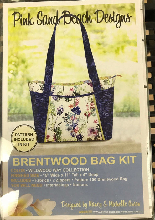 New! Brentwood Bag #106 by Pink Sand Designs - Complete KITS!! Pattern, fabric and notions INCLUDED! Must See! Wildwood Way fabric by RJR - RebsFabStash