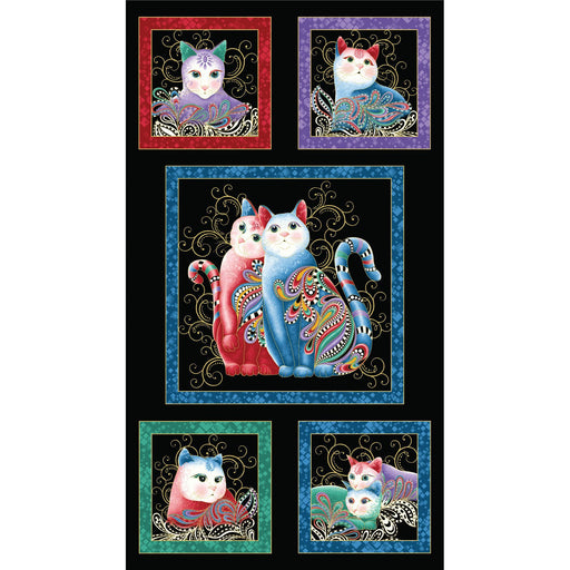 NEW! Cat-I-Tude 2 - Purrfect together - Ann Lauer - Grizzly Gulch Gallery - PANEL - Benartex - Cat blocks on black 7550M-12 - CatITude - RebsFabStash