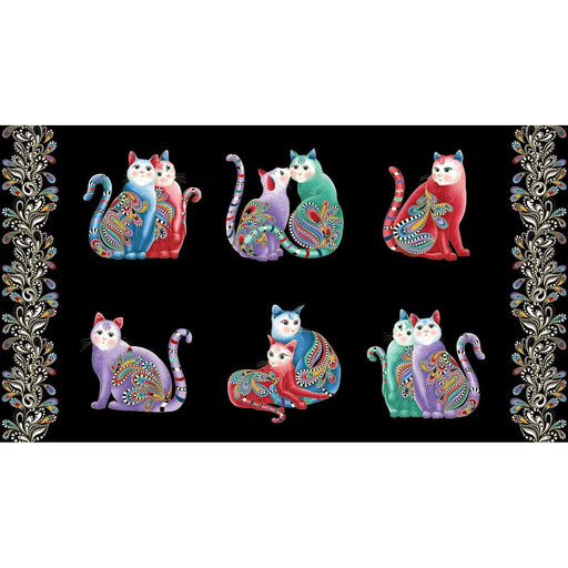 NEW! Cat-I-Tude 2 - Purrfect together - Ann Lauer - Grizzly Gulch Gallery - PANEL - Benartex - Cats on black 7551M-12 - CatITude - RebsFabStash