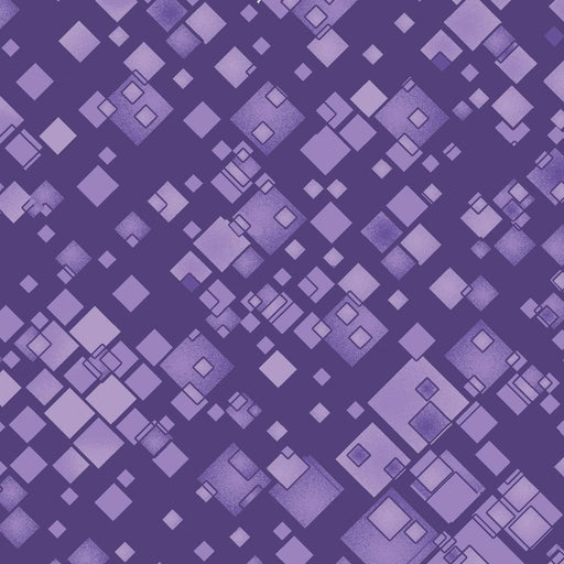 NEW! Cat-I-Tude 2 - Purrfect together - Ann Lauer - Per yard - Benartex - Tonal Squares Squarely there Purple - 7556-66 - CatITude - RebsFabStash