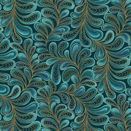 NEW! Cat-I-Tude by Ann Lauer - Grizzly Gulch Gallery - per yard - Benartex - Feather Frolic Dark aqua or teal- Blender - Tonal - RebsFabStash