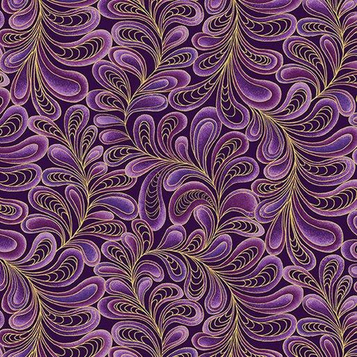 NEW! Cat-I-Tude by Ann Lauer - Grizzly Gulch Gallery - Per yard - Benartex - Feather Frolic Purple - Blender - Tonal - RebsFabStash